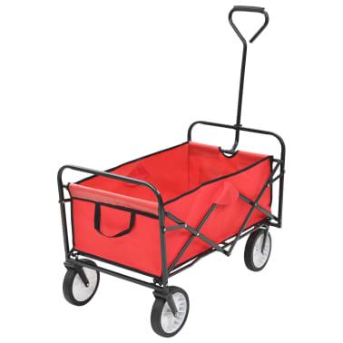 vidaXL Zložljiv ročni voziček jeklen rdeč[1/8]