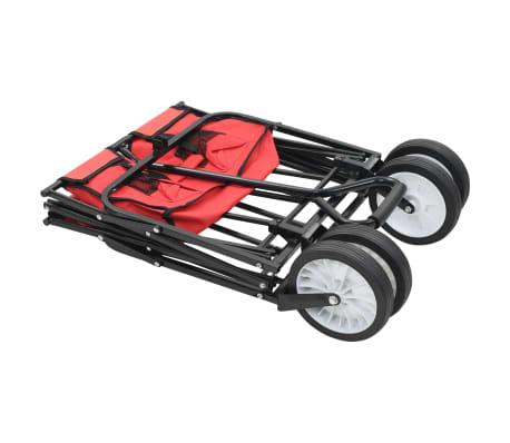 vidaXL Zložljiv ročni voziček jeklen rdeč[3/8]