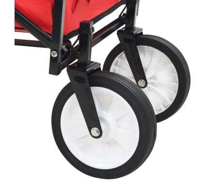 vidaXL Zložljiv ročni voziček jeklen rdeč[7/8]