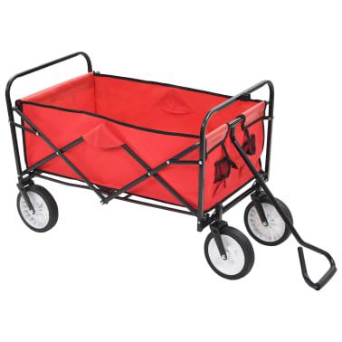 vidaXL Zložljiv ročni voziček jeklen rdeč[2/8]
