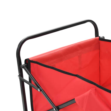 vidaXL Zložljiv ročni voziček jeklen rdeč[4/8]
