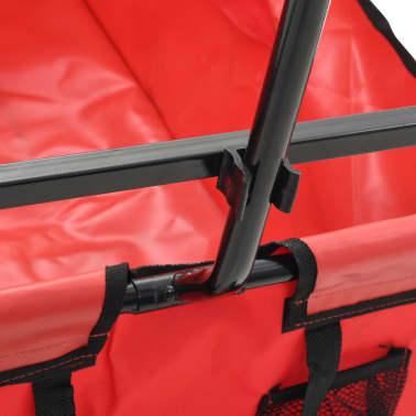 vidaXL Zložljiv ročni voziček jeklen rdeč[5/8]