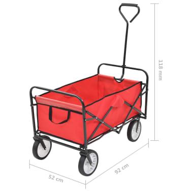 vidaXL Zložljiv ročni voziček jeklen rdeč[8/8]