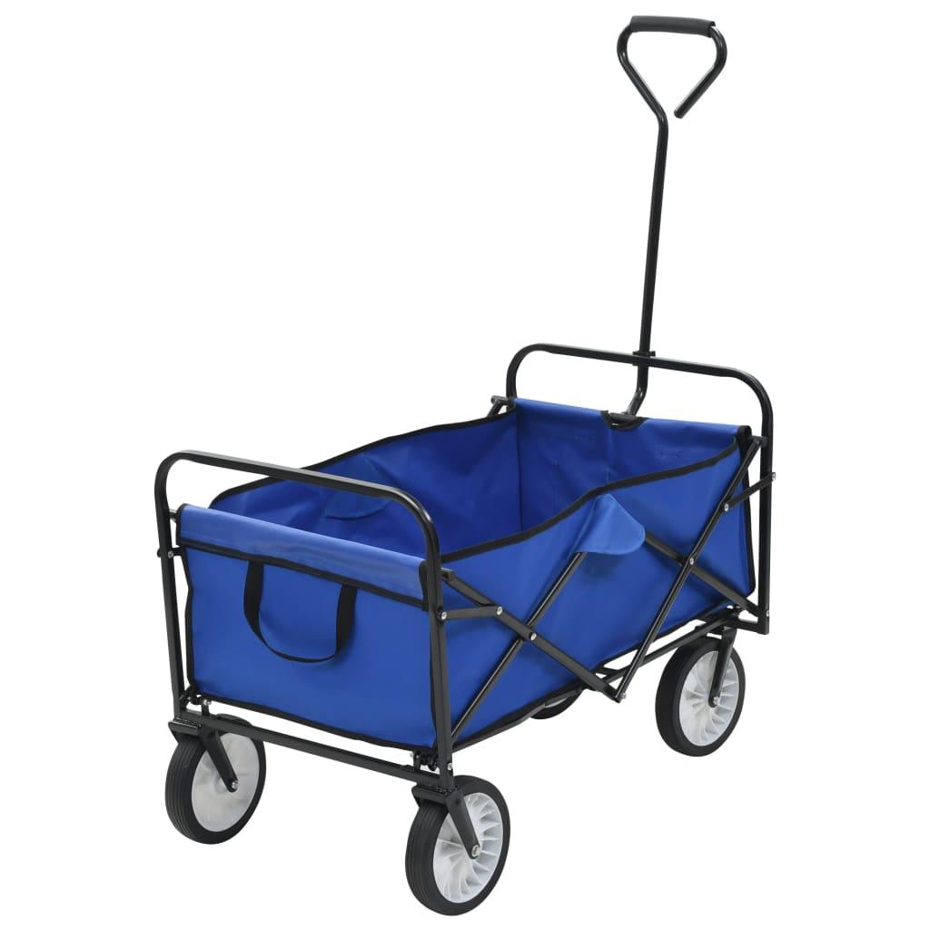 Skládací ruční vozík ocelový modrý