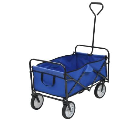 vidaXL Сгъваема ръчна количка, стомана, синя
