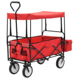 vidaXL Folding Hand Trolley with Canopy Steel Red