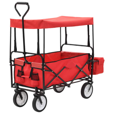 vidaXL Folding Hand Trolley with Canopy Steel Red[1/9]