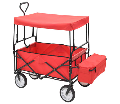 vidaXL Folding Hand Trolley with Canopy Steel Red[2/9]