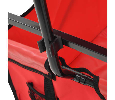 vidaXL Folding Hand Trolley with Canopy Steel Red[6/9]