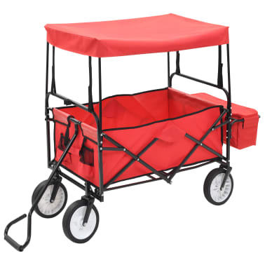 vidaXL Folding Hand Trolley with Canopy Steel Red[3/9]