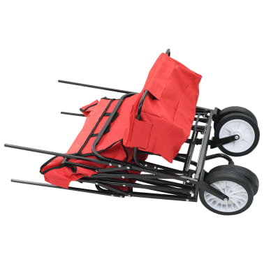 vidaXL Folding Hand Trolley with Canopy Steel Red[4/9]