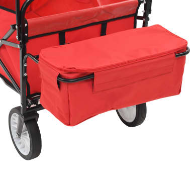 vidaXL Folding Hand Trolley with Canopy Steel Red[5/9]