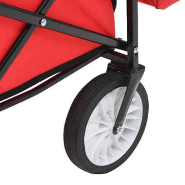 vidaXL Folding Hand Trolley with Canopy Steel Red[8/9]