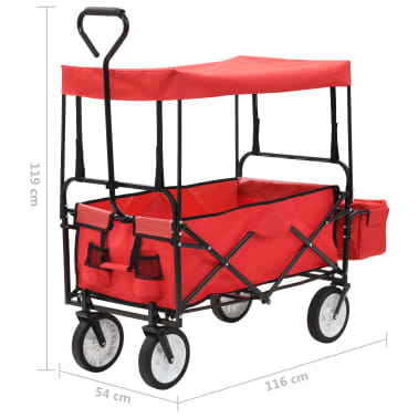 vidaXL Folding Hand Trolley with Canopy Steel Red[9/9]