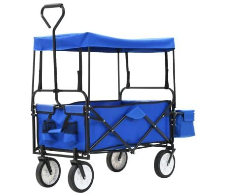 vidaXL Składany wózek ręczny z daszkiem, stalowy, niebieski-picture
