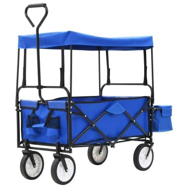 vidaXL Folding Hand Trolley with Canopy Steel Blue[1/8]