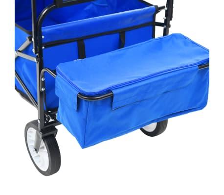 vidaXL Folding Hand Trolley with Canopy Steel Blue[4/8]