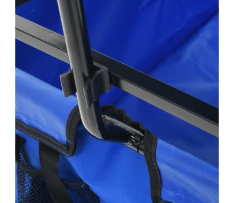 vidaXL Folding Hand Trolley with Canopy Steel Blue[5/8]
