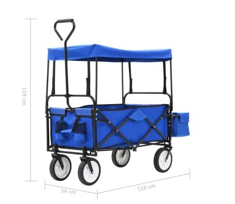 vidaXL Folding Hand Trolley with Canopy Steel Blue[8/8]