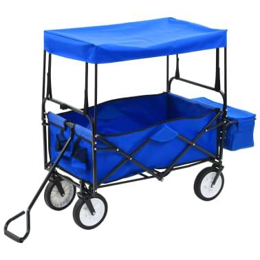 vidaXL Folding Hand Trolley with Canopy Steel Blue[2/8]