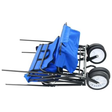 vidaXL Folding Hand Trolley with Canopy Steel Blue[3/8]