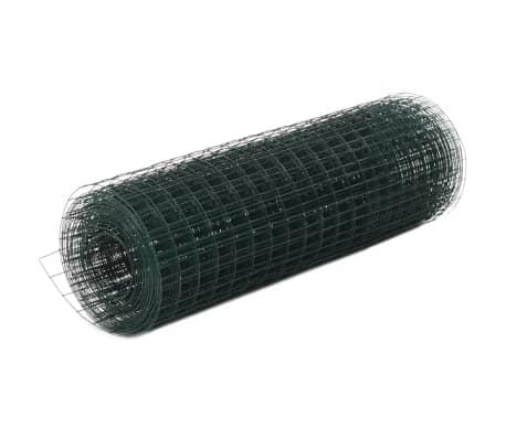 vidaXL Hönsnät stål med PVC-beläggning 25x0,5 m grön