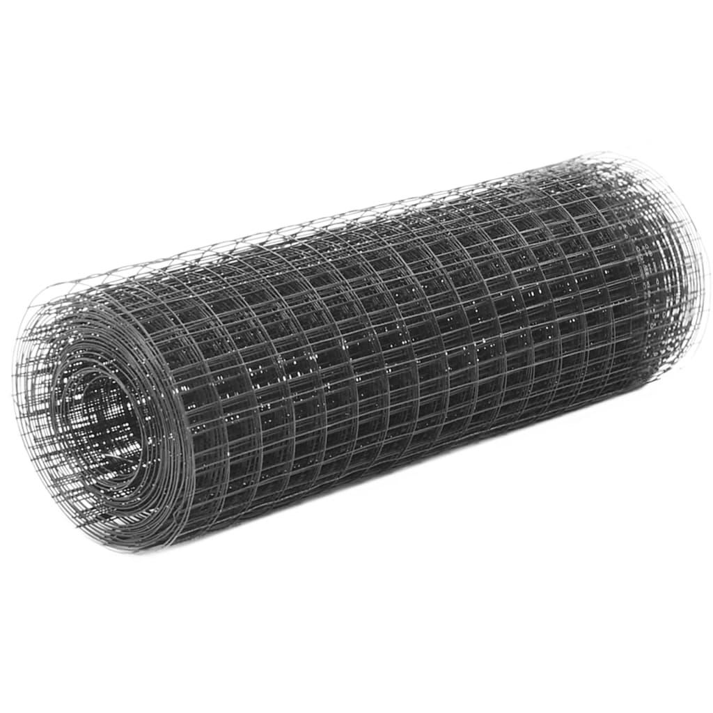 vidaXL Plasă de sârmă găini, gri, 10 x 0,5 m, oțel cu înveliș PVC poza vidaxl.ro