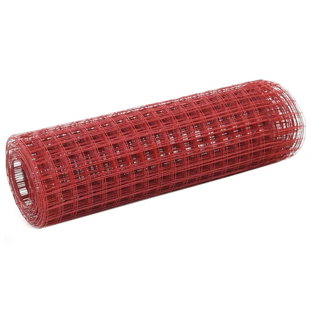 vidaXL Pletivo ke kurníku ocel PVC vrstva 10 x 0,5 m červené