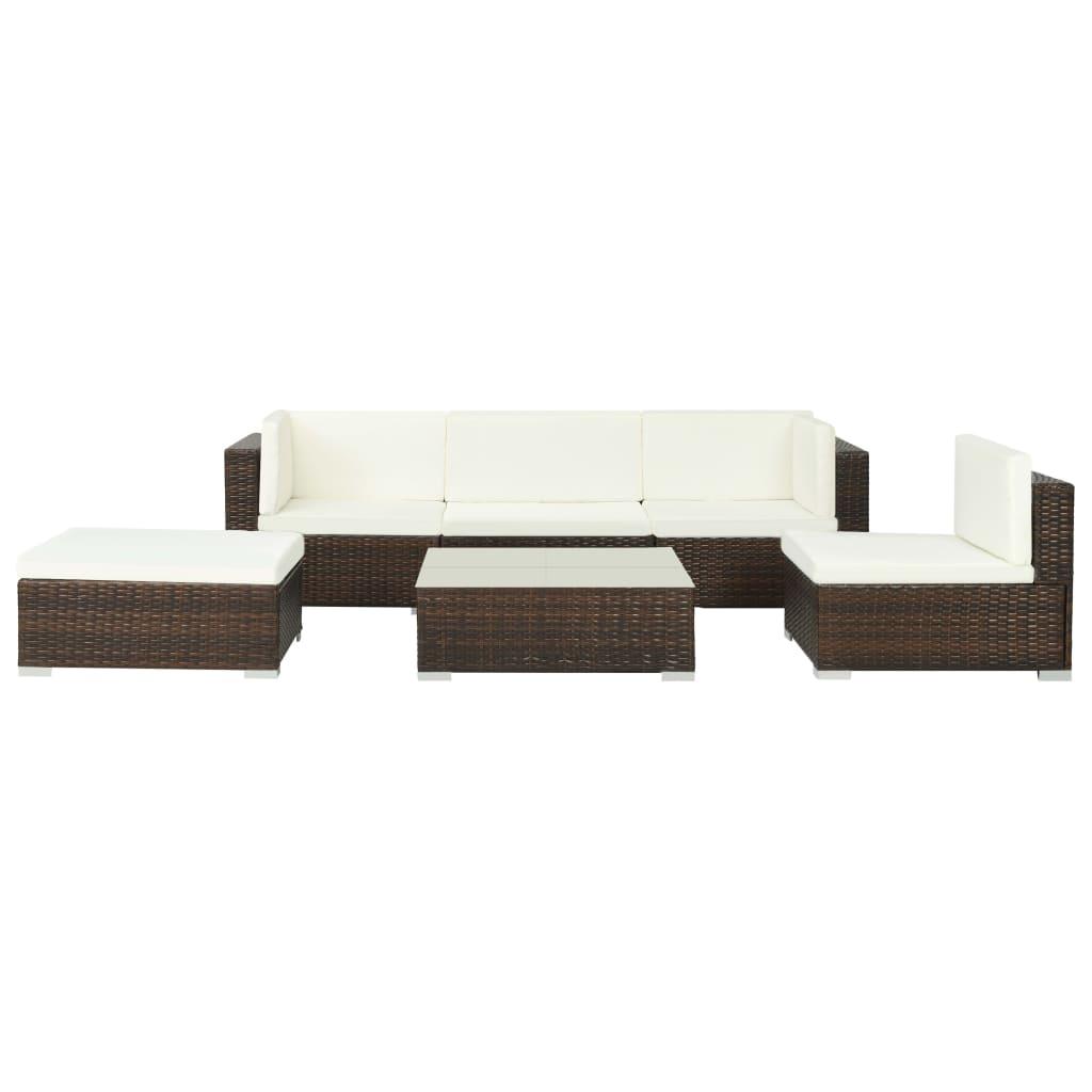 vidaXL Set mobilier de grădină cu perne, 6 piese, maro, poliratan poza 2021 vidaXL