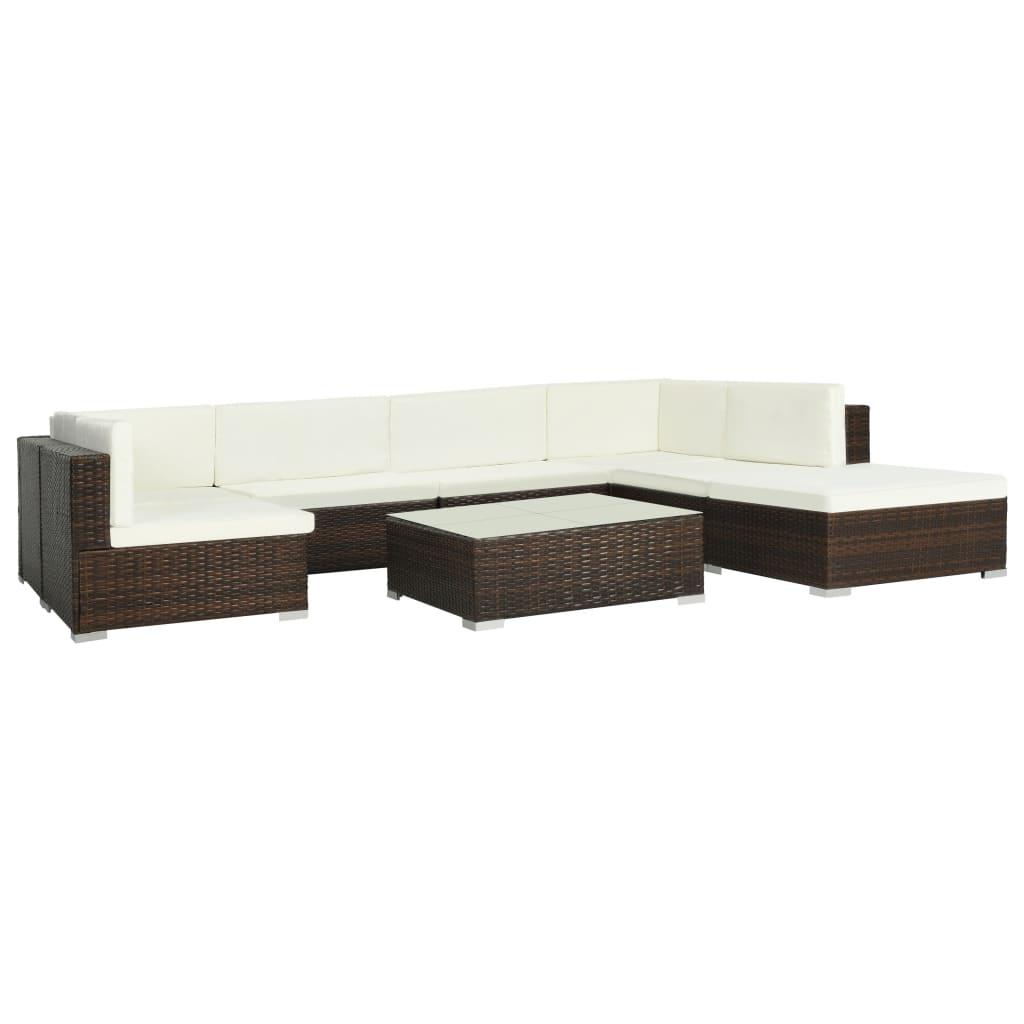 vidaXL Set mobilier de grădină cu perne, 8 piese, maro, poliratan poza vidaxl.ro
