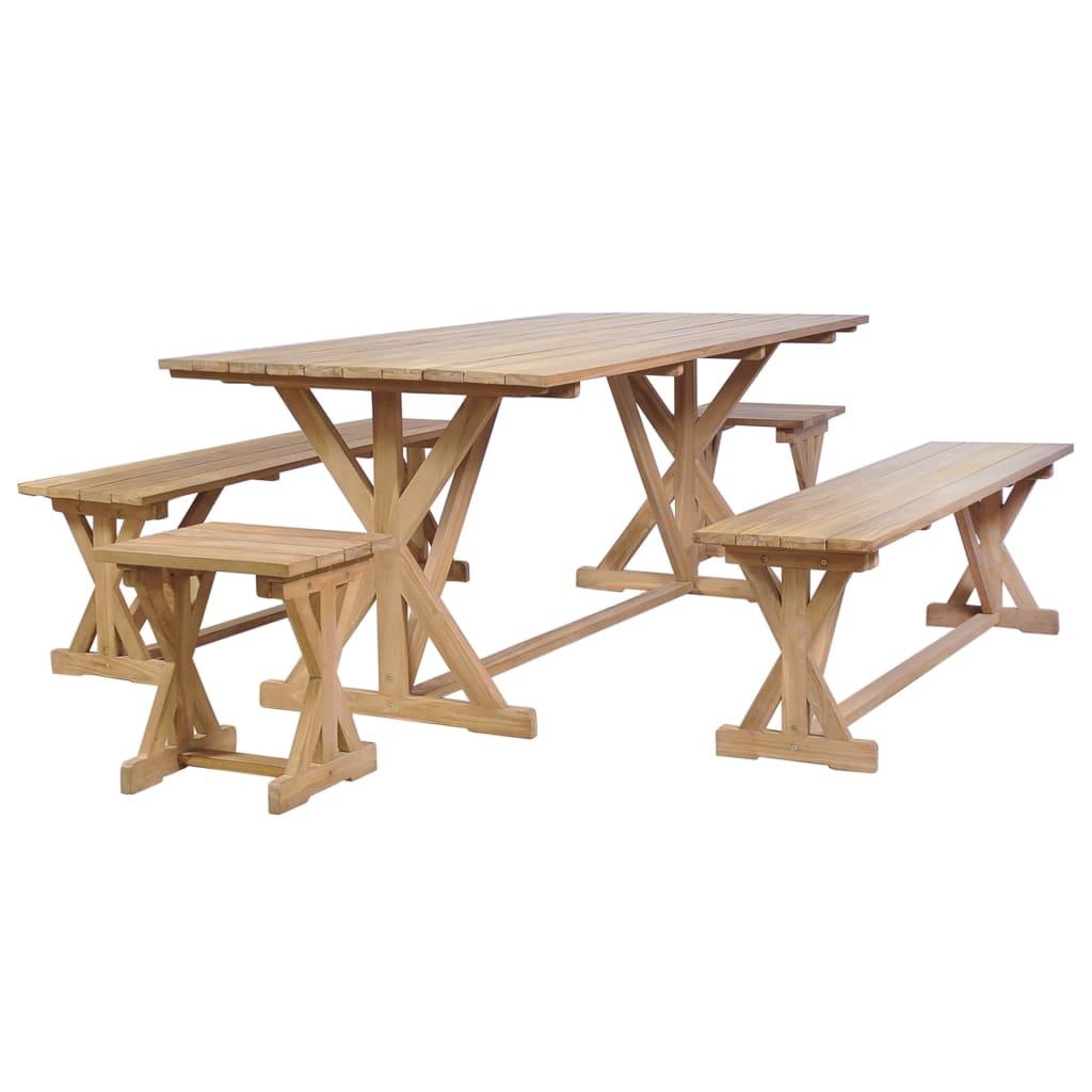 vidaXL Jídelní set 5 kusů masivní teakové dřevo