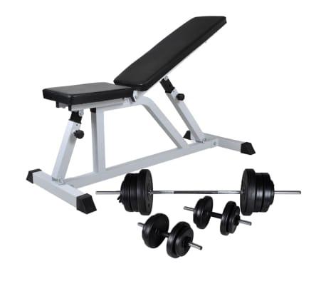 vidaXL Banc d'entraînement avec jeu d'haltères 60,5 kg[1/11]