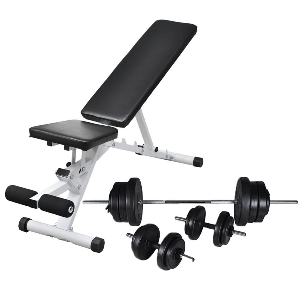vidaXL Bancă de antrenament cu set de haltere și gantere, 60,5 kg poza vidaxl.ro