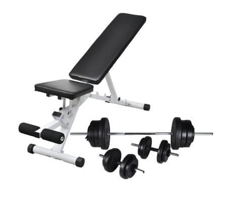 vidaXL Banc d'entraînement avec jeu d'haltères et de disques de poids 60,5 kg[1/12]