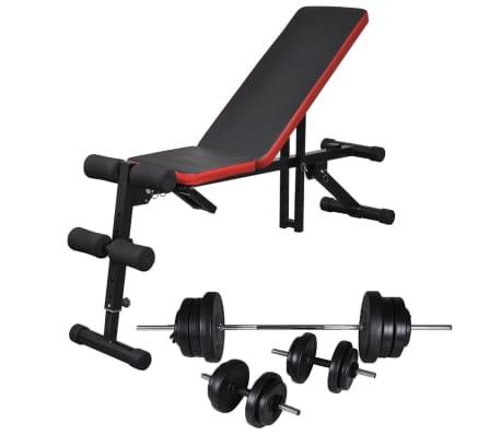vidaXL justerbar maveøvelsesbænk med vægtstang- og håndvægtsæt 60,5 kg