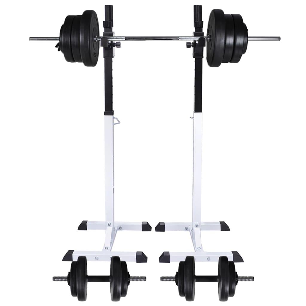 vidaXL Suport haltere genuflexiuni cu halteră și set gantere 60,5 kg poza vidaxl.ro