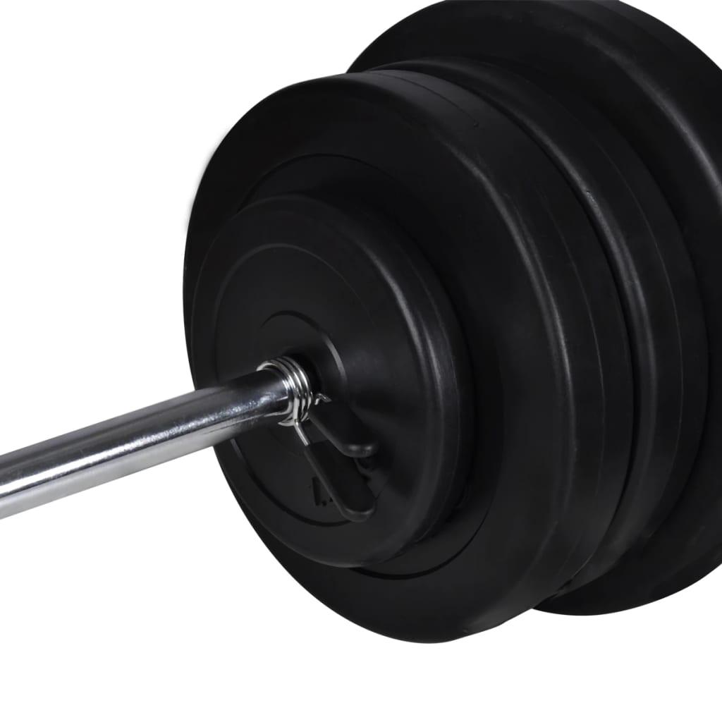 Stalak za čučnjeve sa setom dvoručnih/jednoručnih utega 60,5 kg