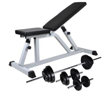 vidaXL Banc d'entraînement avec jeu d'haltères 30,5 kg[1/10]