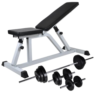 Incredible Vidaxl Workout Bench With Barbell And Dumbbell Set 30 5 Kg Dailytribune Chair Design For Home Dailytribuneorg