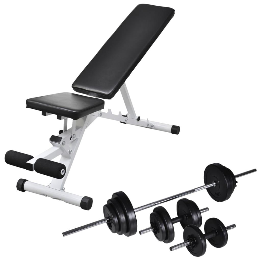 vidaXL Bancă de antrenament cu set de haltere și gantere, 30,5 kg poza vidaxl.ro