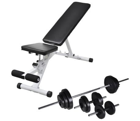 vidaXL Banc d'entraînement avec jeu d'haltères et de disques de poids 30,5 kg[1/11]