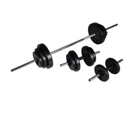 vidaXL Banc d'entraînement avec jeu d'haltères et de disques de poids 30,5 kg[9/11]