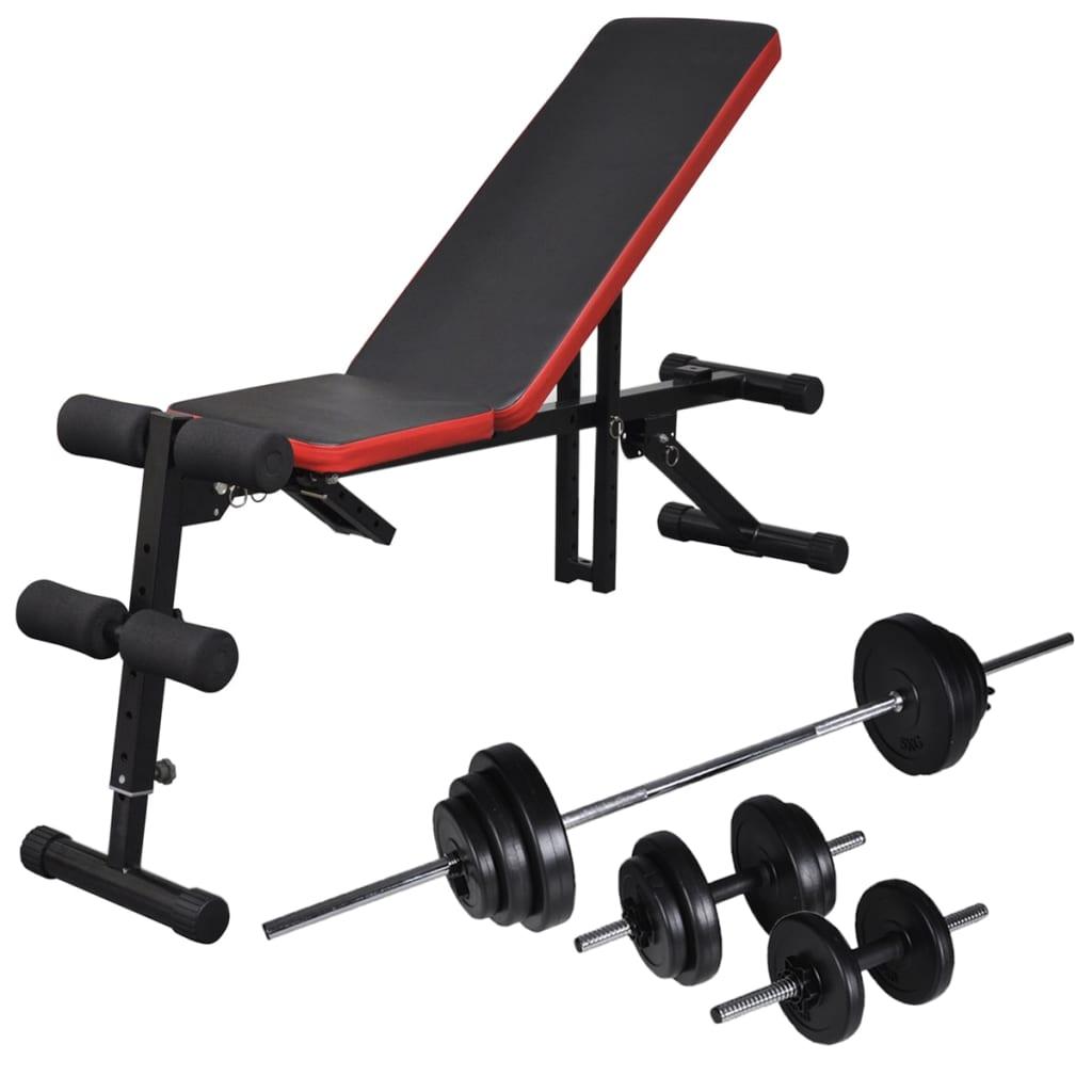 vidaXL Nastavitelná posilovací lavice na břicho se sadou činek 30,5 kg
