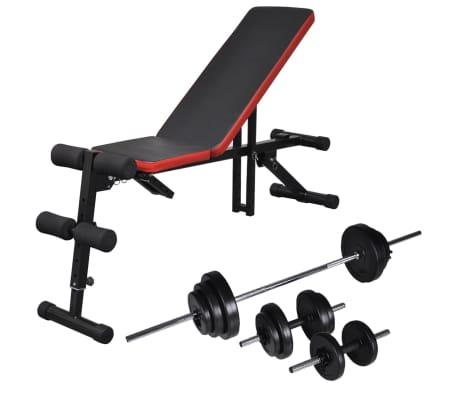 vidaXL Einstellbare Trainingsbank mit Lang- und Kurzhantel-Set 30,5 kg