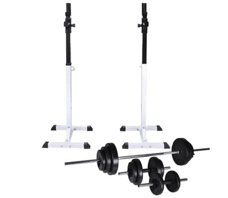 vidaXL Barbell Squat Rack with Barbell and Dumbbell Set 30.5 kg