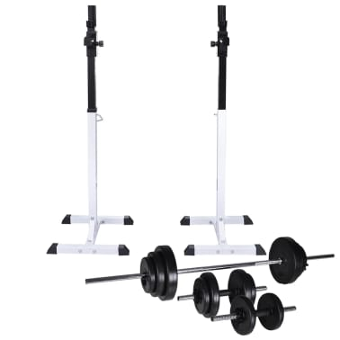 vidaXL Barbell Squat Rack with Barbell and Dumbbell Set 30.5 kg[1/9]