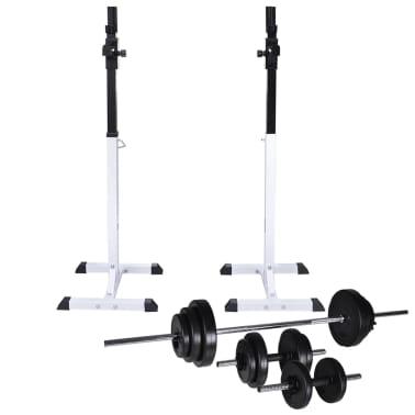 vidaXL Kniebeugen-/Langhantelständer mit Hantel-Set 30,5 kg[1/9]