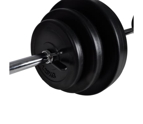 vidaXL Barbell Squat Rack with Barbell and Dumbbell Set 30.5 kg[9/9]