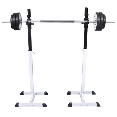 vidaXL Barbell Squat Rack with Barbell and Dumbbell Set 30.5 kg[2/9]