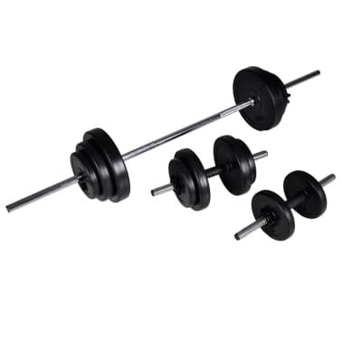 vidaXL Barbell Squat Rack with Barbell and Dumbbell Set 30.5 kg[7/9]